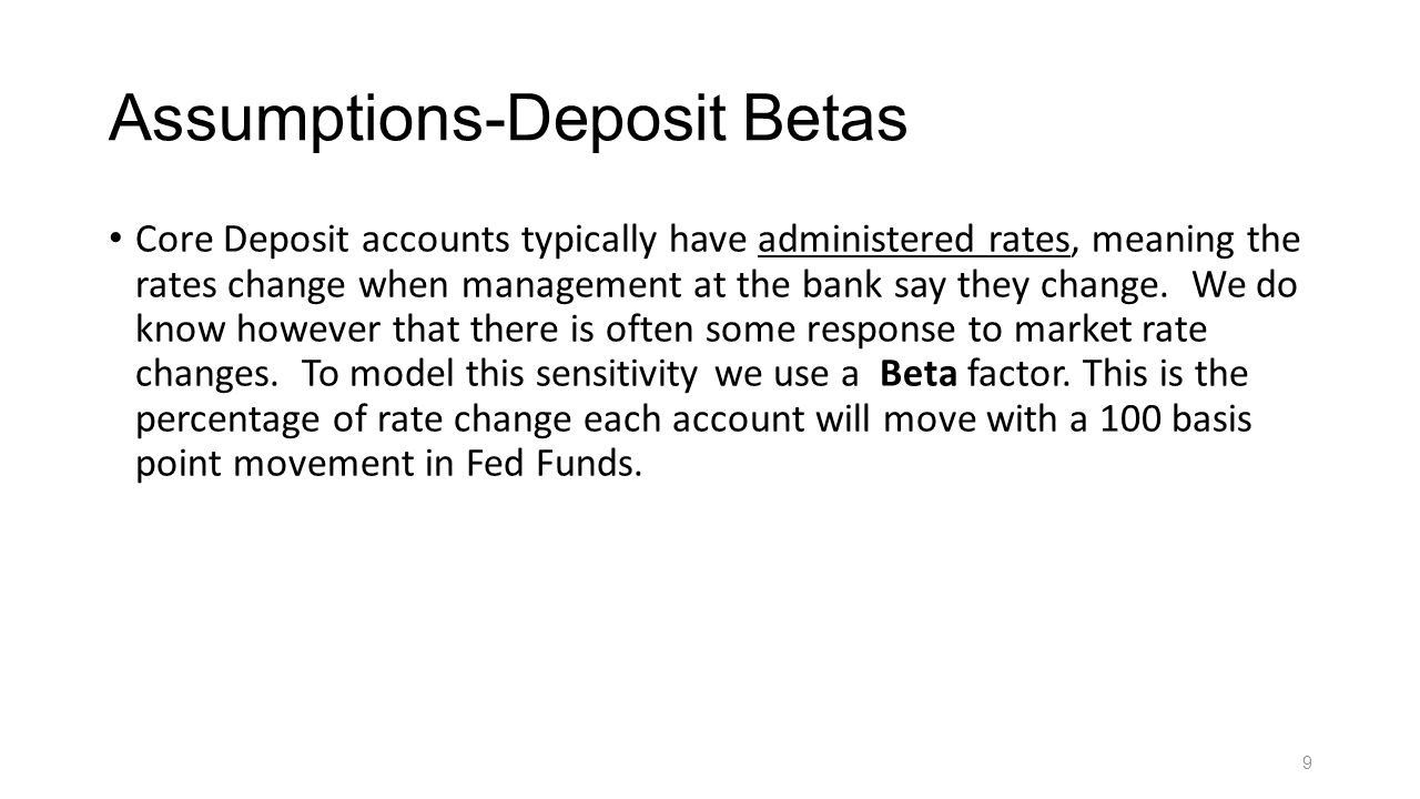Assumptions-Deposit Betas