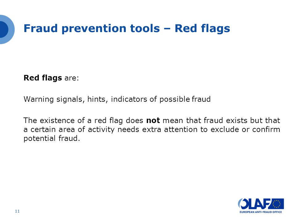 Fraud prevention tools – Red flags