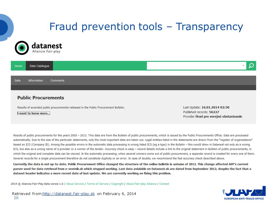 Fraud prevention tools – Transparency