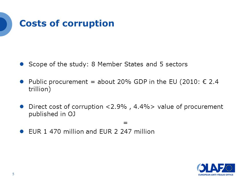 Costs of corruption Scope of the study: 8 Member States and 5 sectors