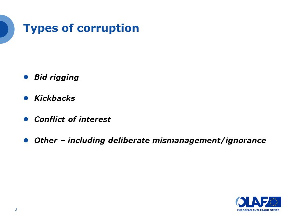Types of corruption Bid rigging Kickbacks Conflict of interest