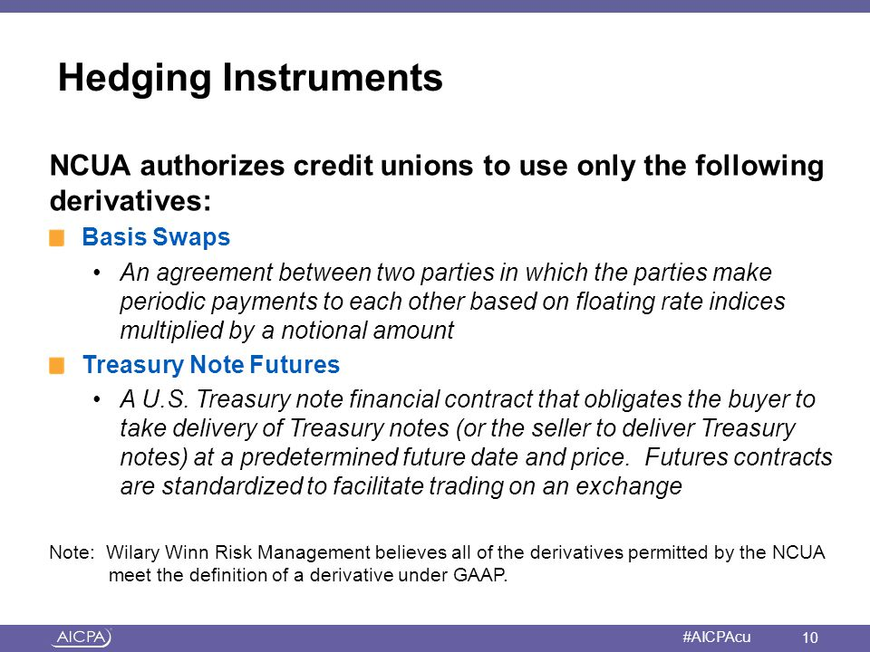 Hedging Instruments NCUA authorizes credit unions to use only the following derivatives: Basis Swaps.