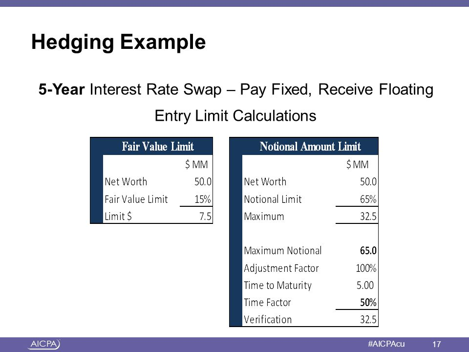 Hedging Example 5-Year Interest Rate Swap – Pay Fixed, Receive Floating Entry Limit Calculations