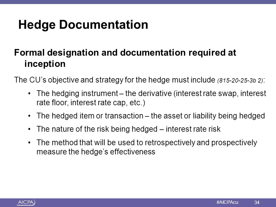 Hedge Documentation Formal designation and documentation required at inception.
