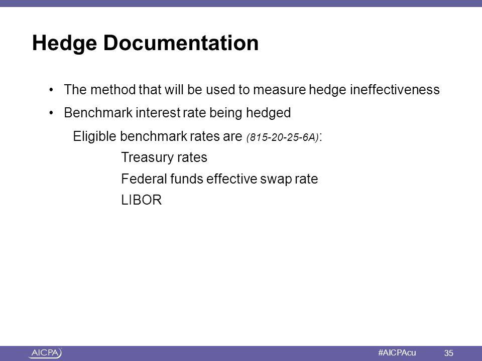 Hedge Documentation The method that will be used to measure hedge ineffectiveness. Benchmark interest rate being hedged.