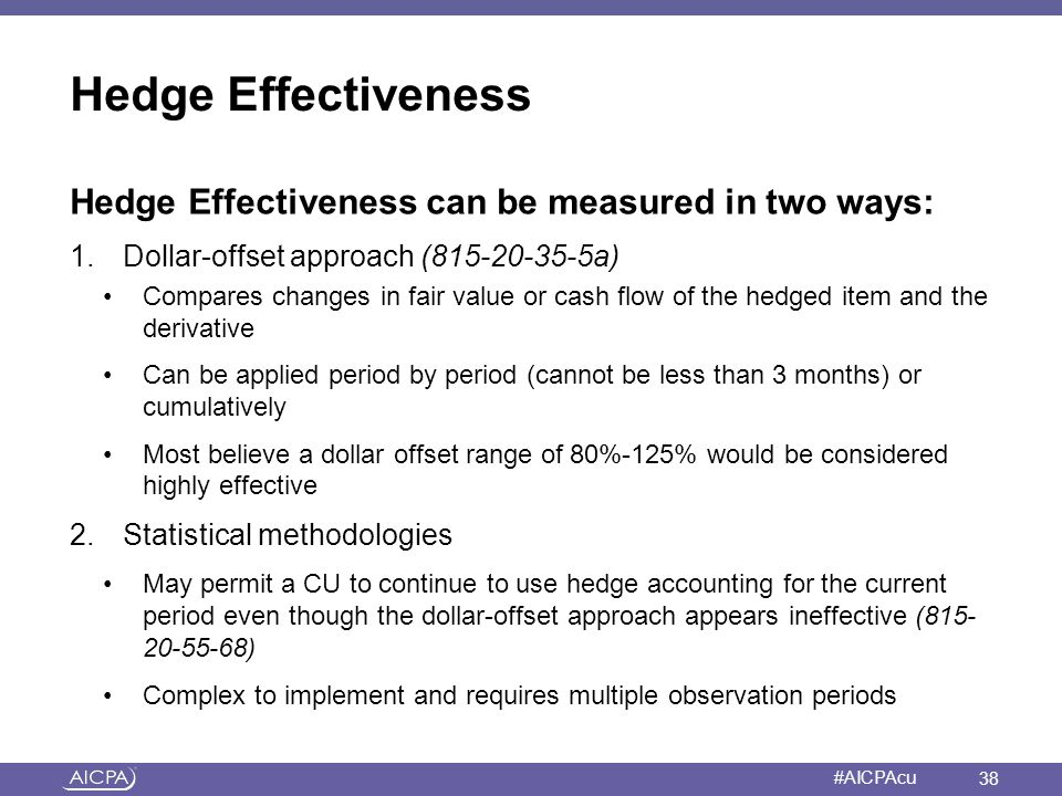 Hedge Effectiveness Hedge Effectiveness can be measured in two ways: