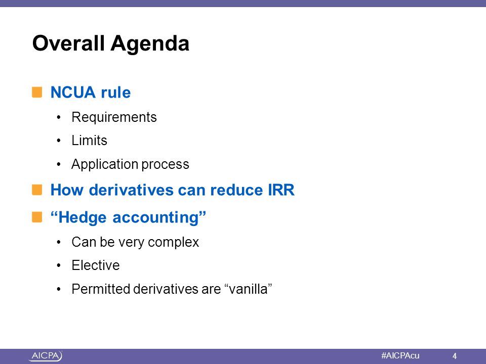 Overall Agenda NCUA rule How derivatives can reduce IRR