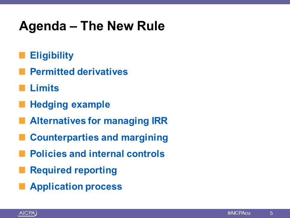Agenda – The New Rule Eligibility Permitted derivatives Limits