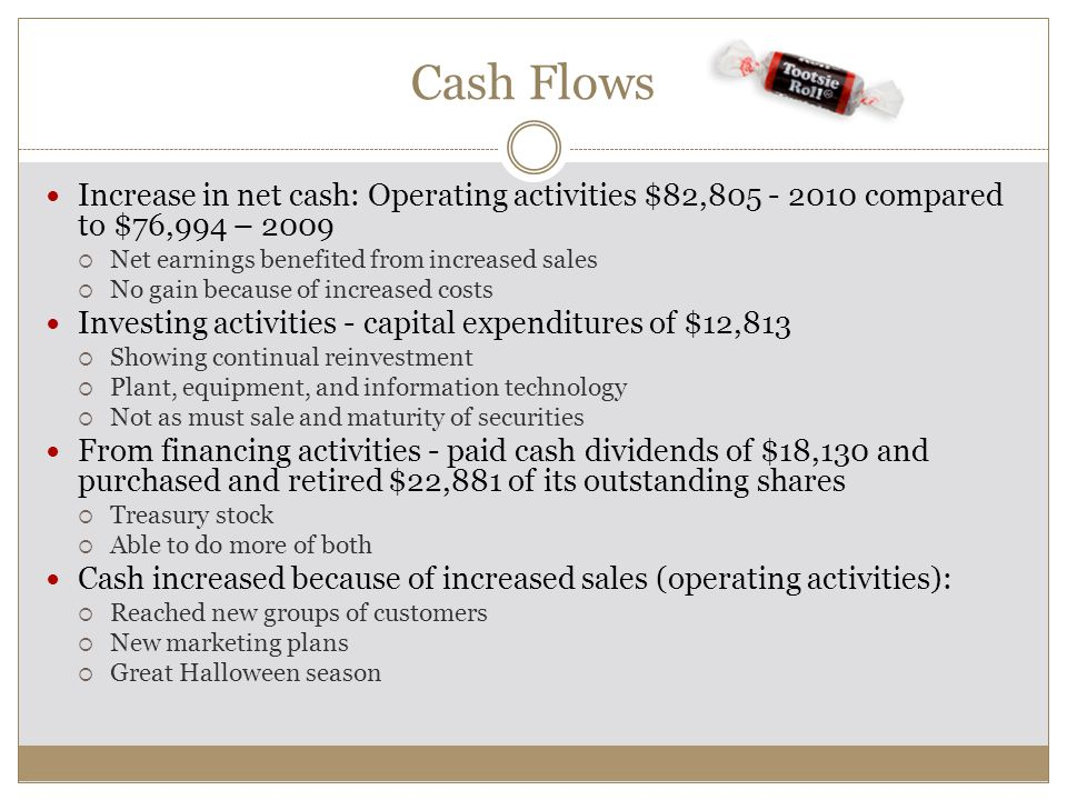 Cash Flows Increase in net cash: Operating activities $82,805 - 2010 compared to $76,994 – 2009. Net earnings benefited from increased sales.