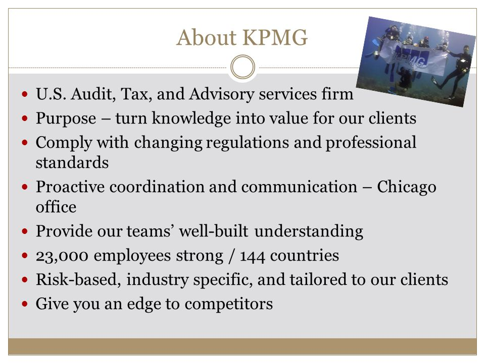 About KPMG U.S. Audit, Tax, and Advisory services firm