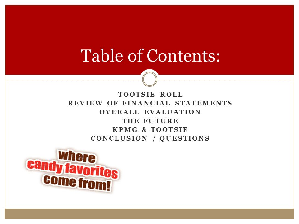 Review of Financial Statements Conclusion / Questions