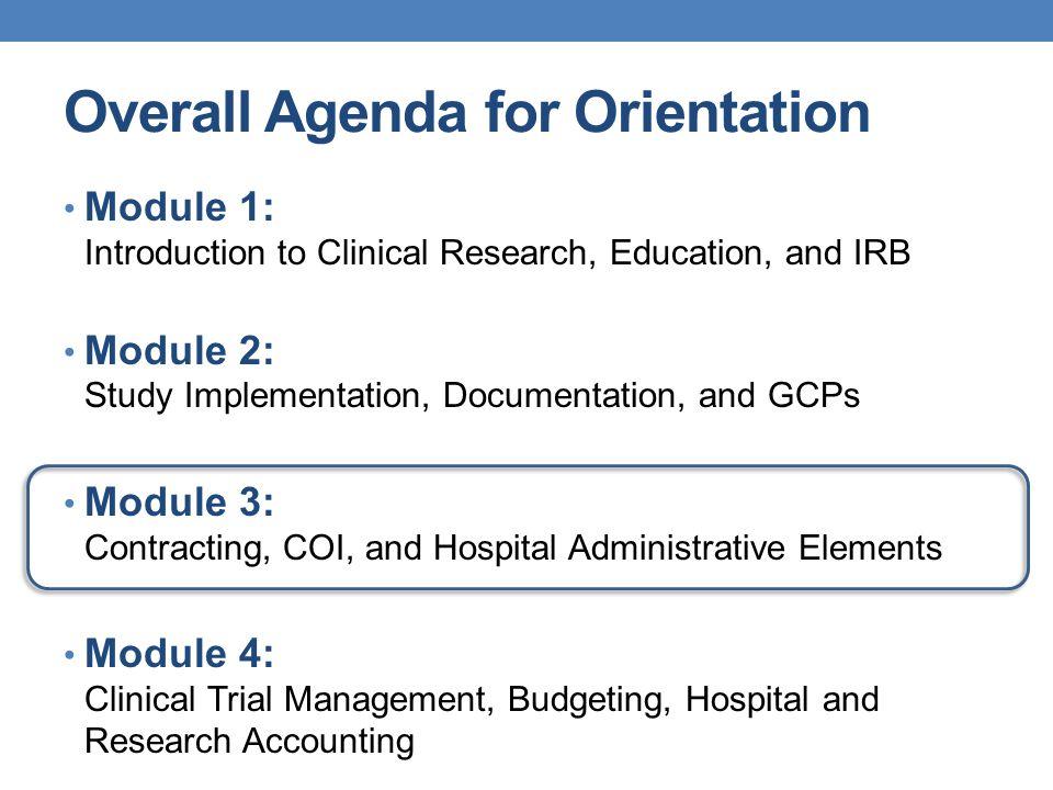 Overall Agenda for Orientation