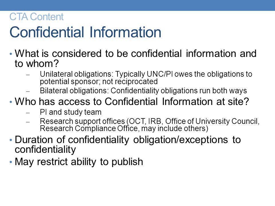 CTA Content Confidential Information