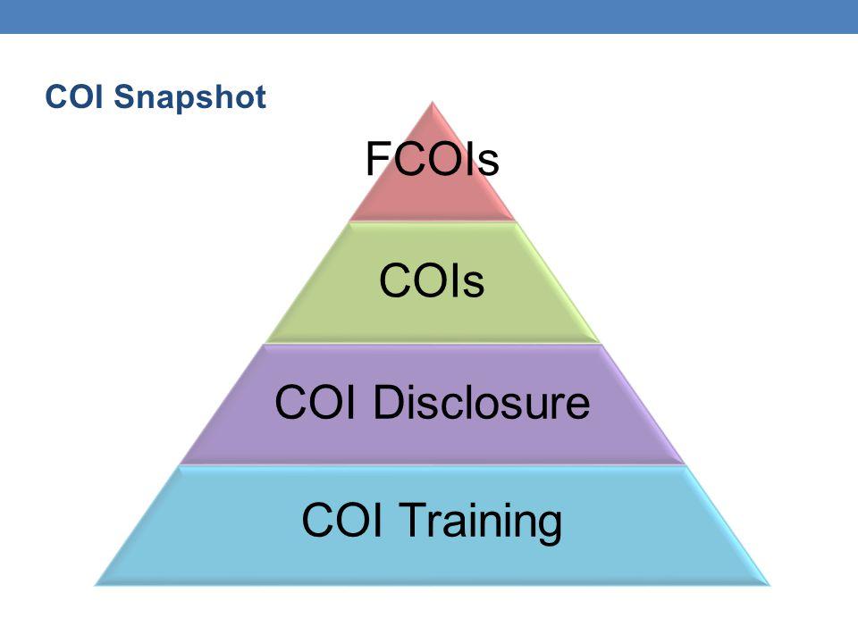 COI Snapshot FCOIs COIs COI Disclosure COI Training