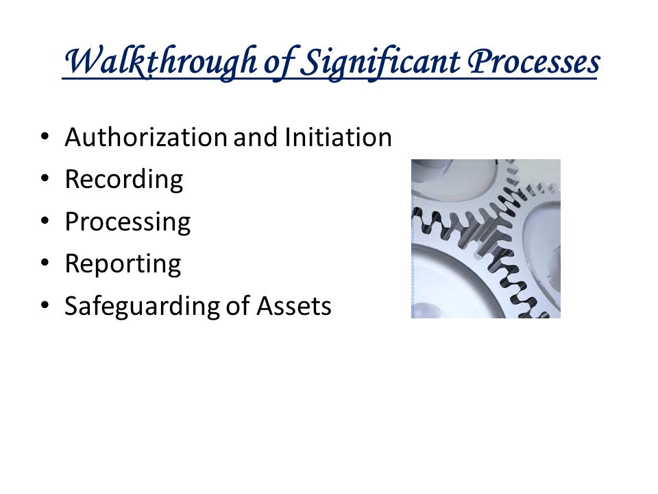 Walkthrough of Significant Processes