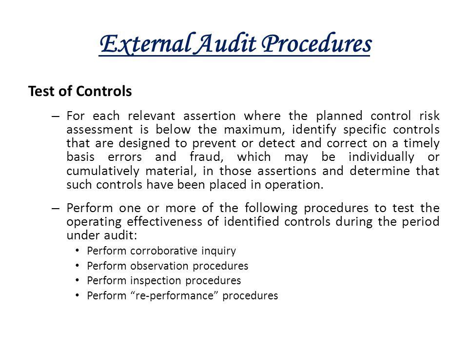 External Audit Procedures