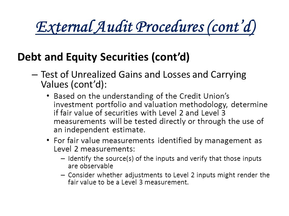 External Audit Procedures (cont'd)