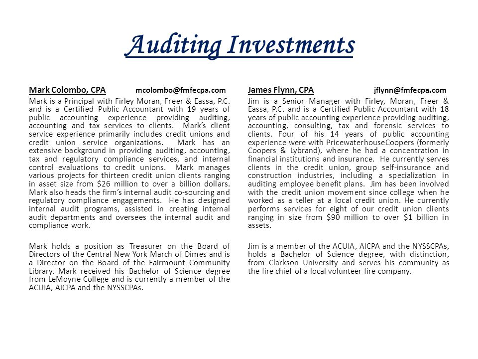 Auditing Investments Mark Colombo, CPA mcolombo@fmfecpa.com