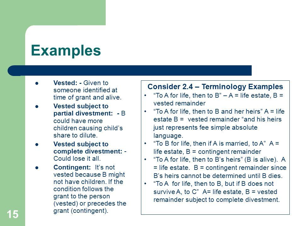 Consider 2.4 – Terminology Examples