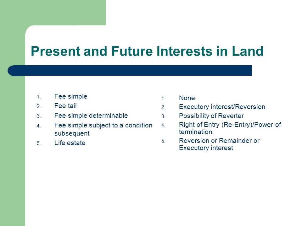 Present and Future Interests in Land