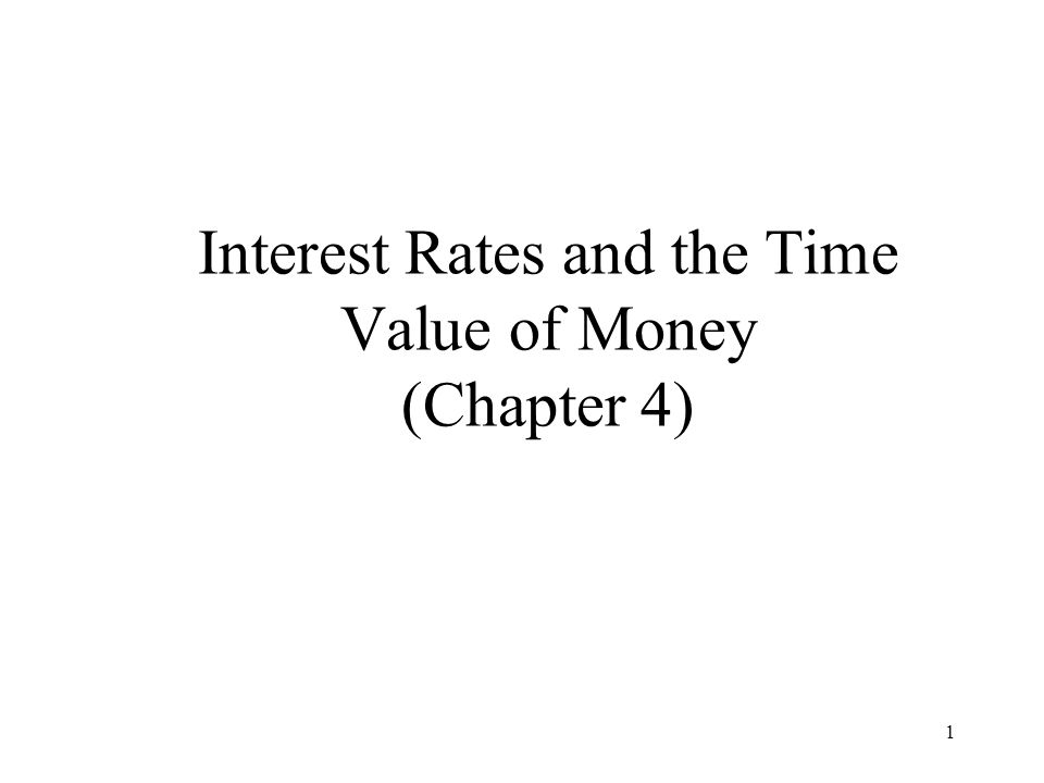 Interest Rates and the Time Value of Money (Chapter 4)