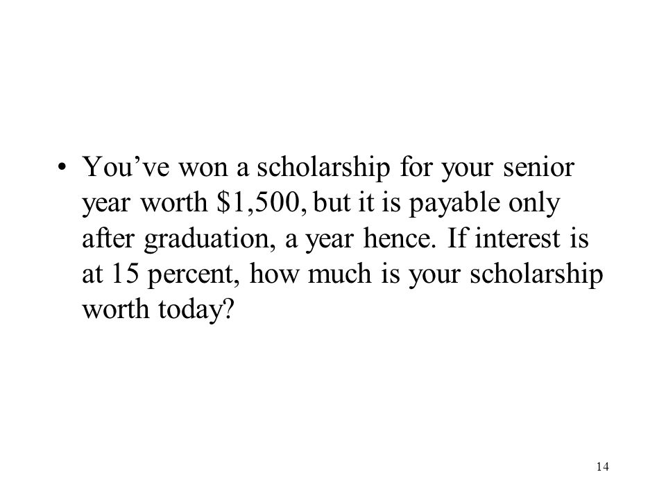 You've won a scholarship for your senior year worth $1,500, but it is payable only after graduation, a year hence.
