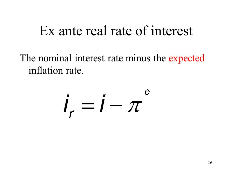 Ex ante real rate of interest