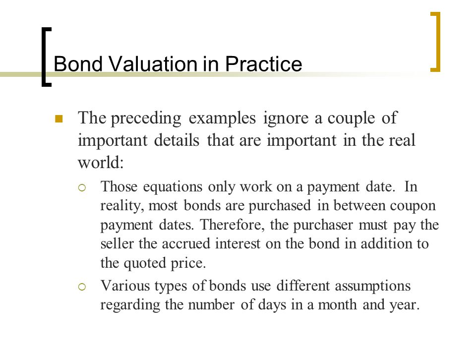 Bond Valuation in Practice