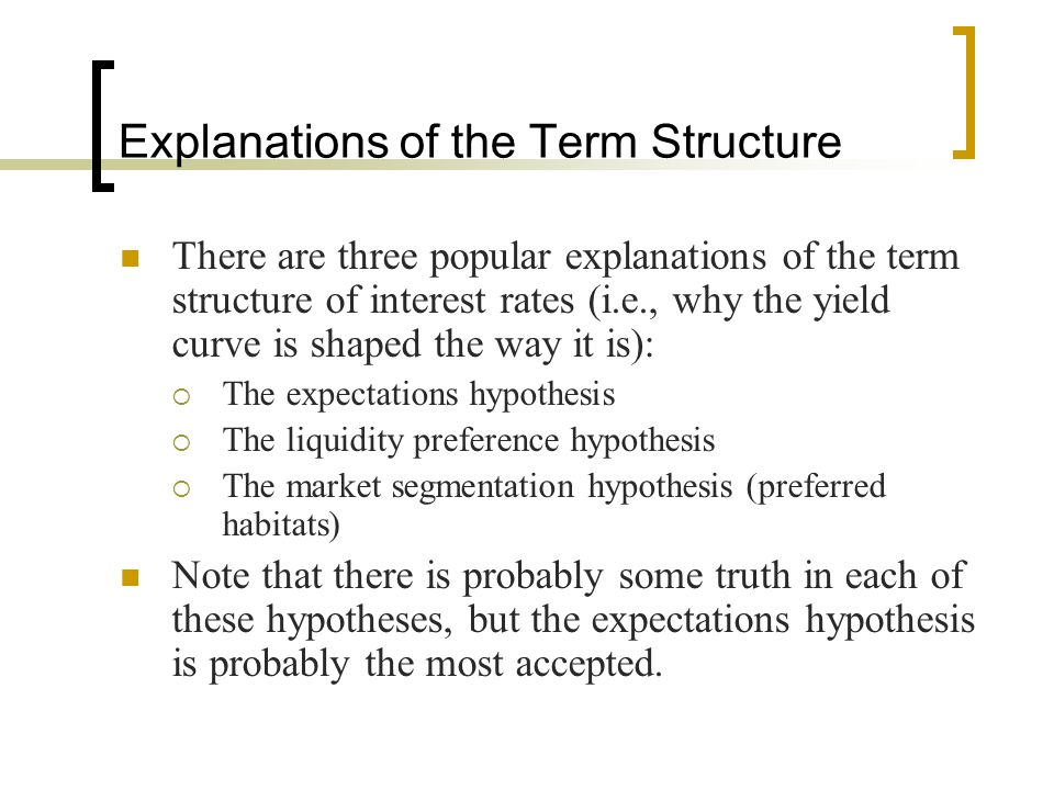 Explanations of the Term Structure