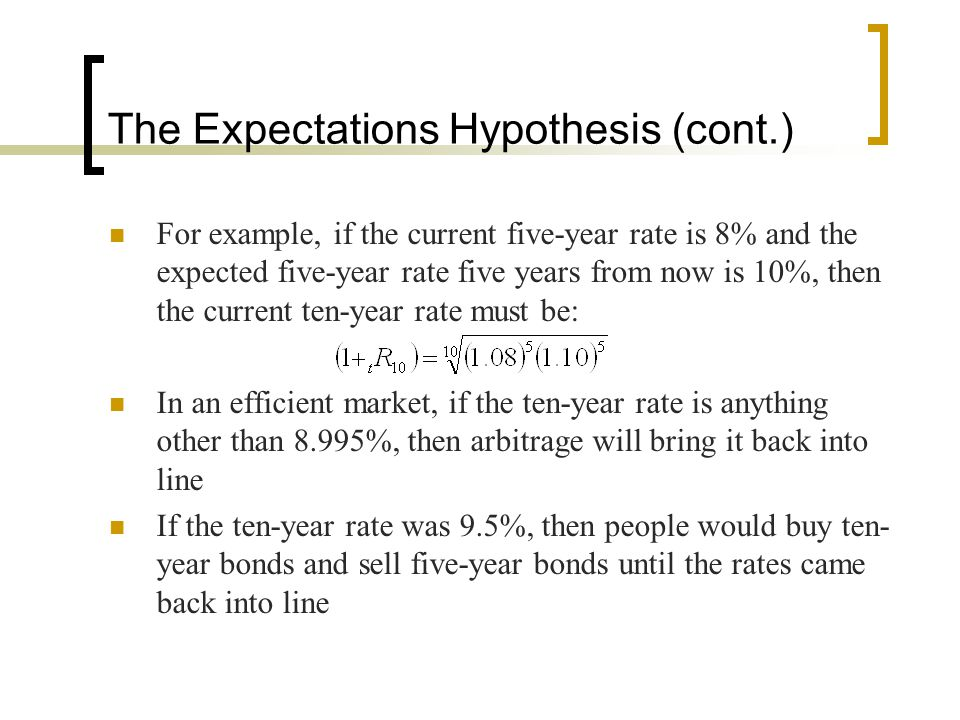 The Expectations Hypothesis (cont.)