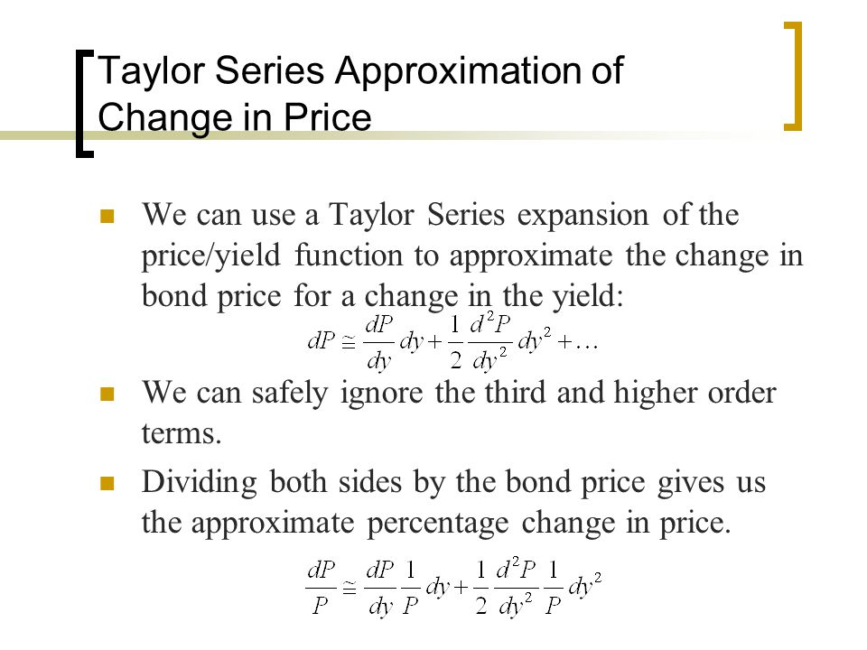 Taylor Series Approximation of Change in Price
