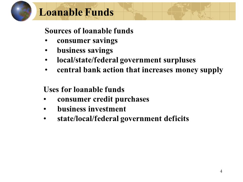 Loanable Funds Sources of loanable funds consumer savings