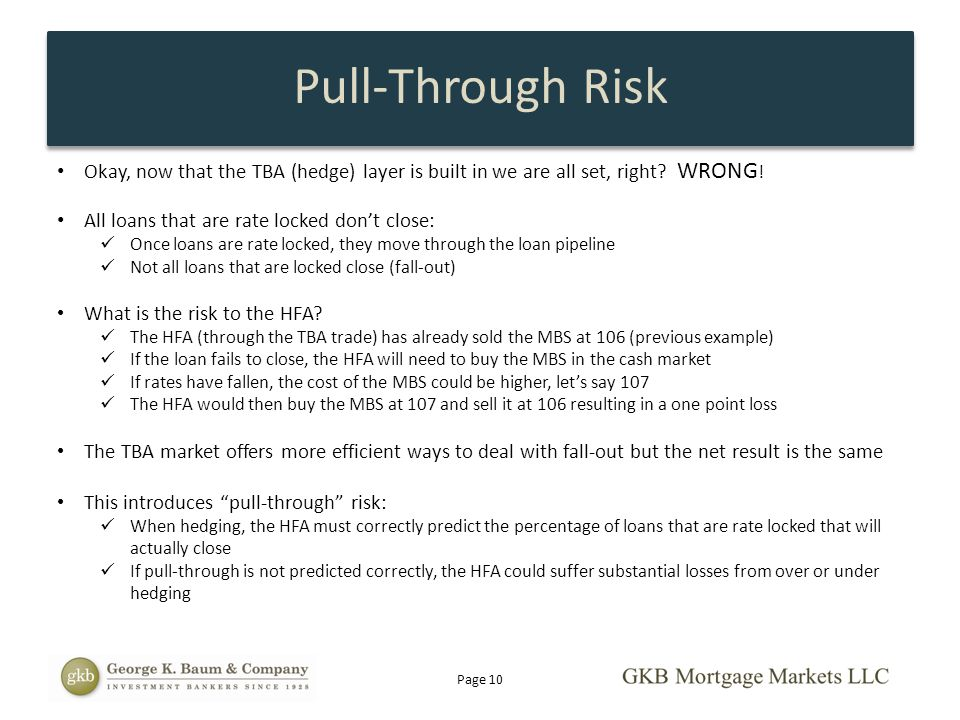 Pull-Through Risk Okay, now that the TBA (hedge) layer is built in we are all set, right WRONG!