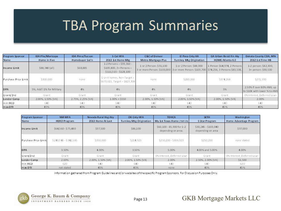 TBA Program Summaries Page 13