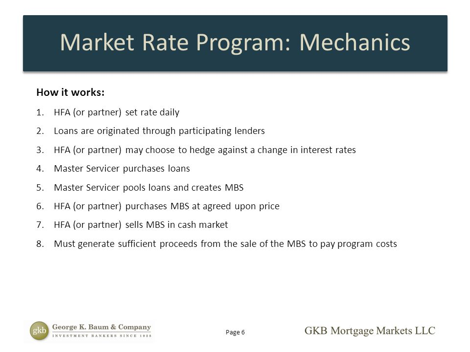 Market Rate Program: Mechanics