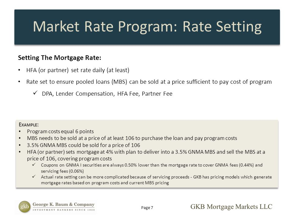 Market Rate Program: Rate Setting