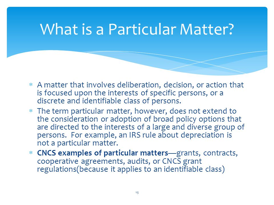 What is a Particular Matter
