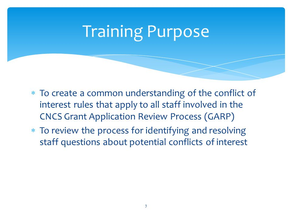 Training Purpose