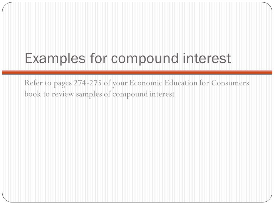 Examples for compound interest