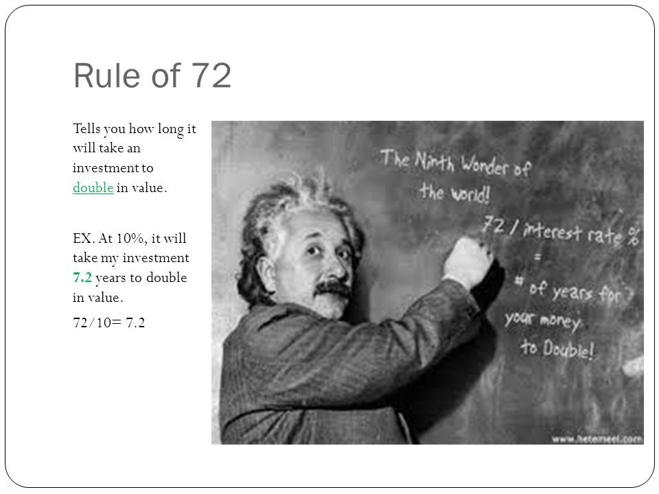 Rule of 72 Tells you how long it will take an investment to double in value.
