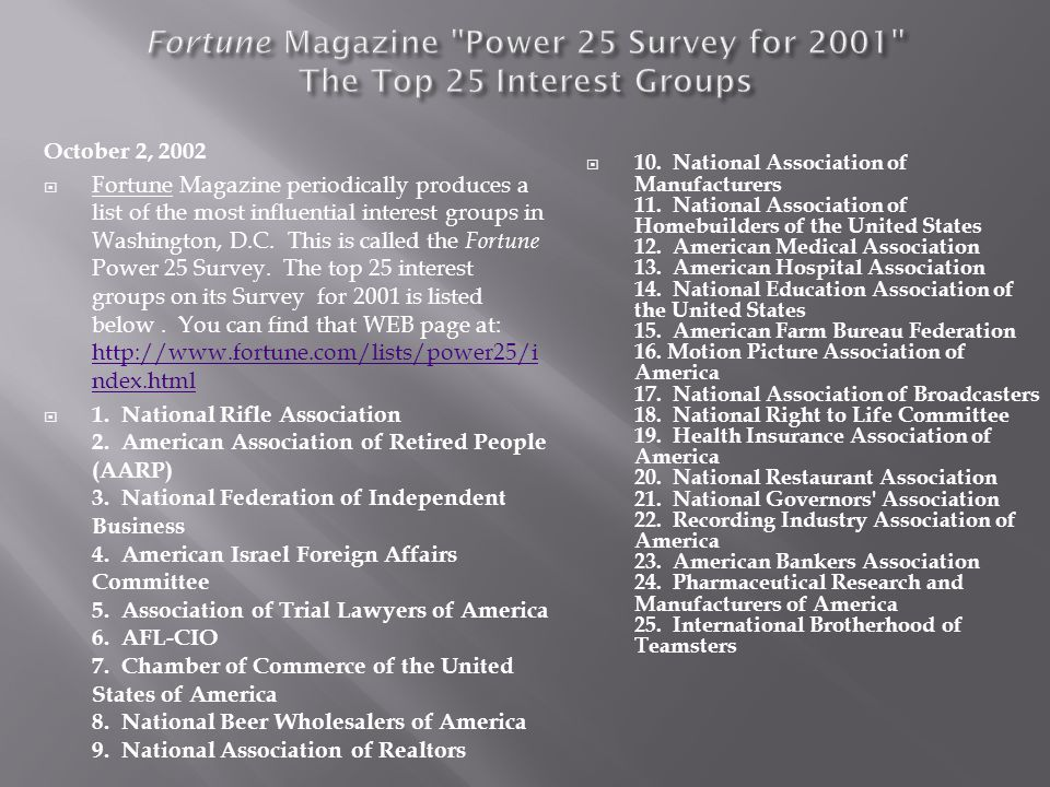 Fortune Magazine Power 25 Survey for 2001 The Top 25 Interest Groups