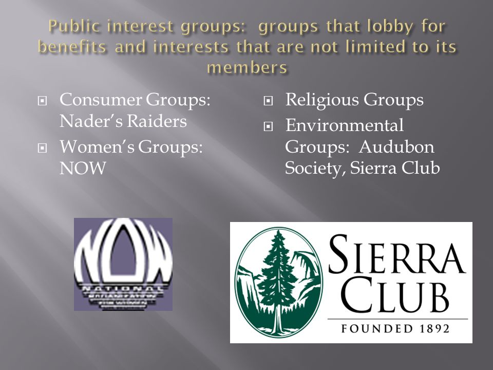 Consumer Groups: Nader's Raiders Women's Groups: NOW Religious Groups