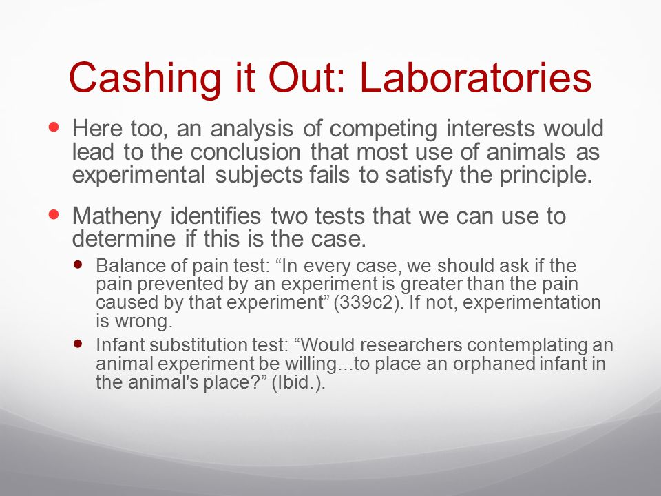 Cashing it Out: Laboratories