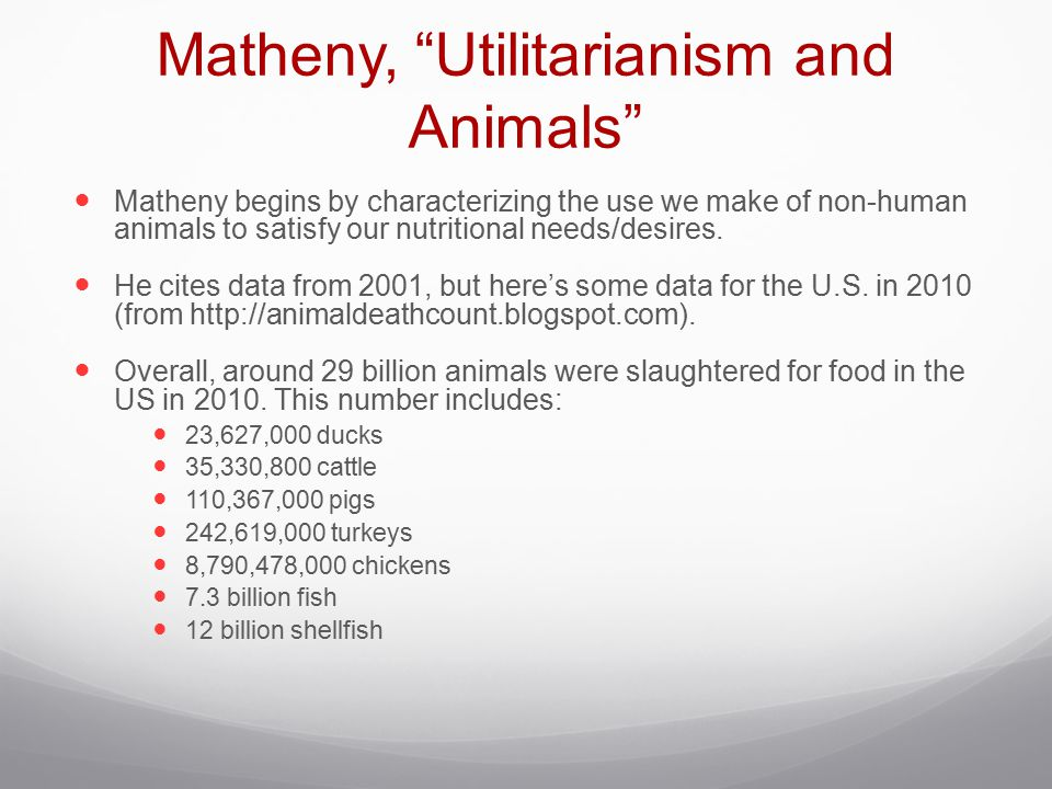 Matheny, Utilitarianism and Animals