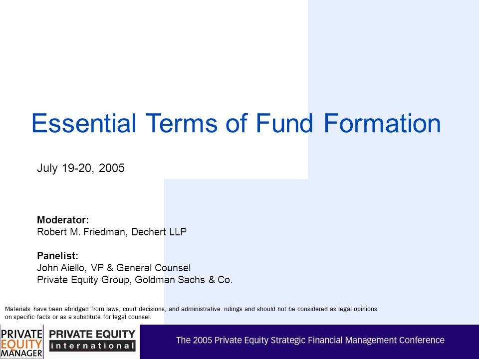 Essential Terms of Fund Formation
