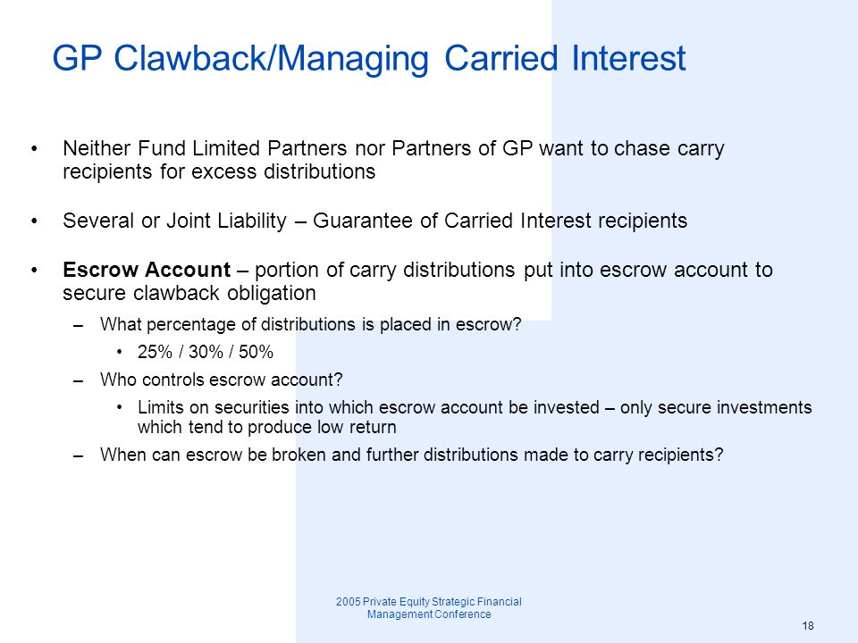 GP Clawback/Managing Carried Interest