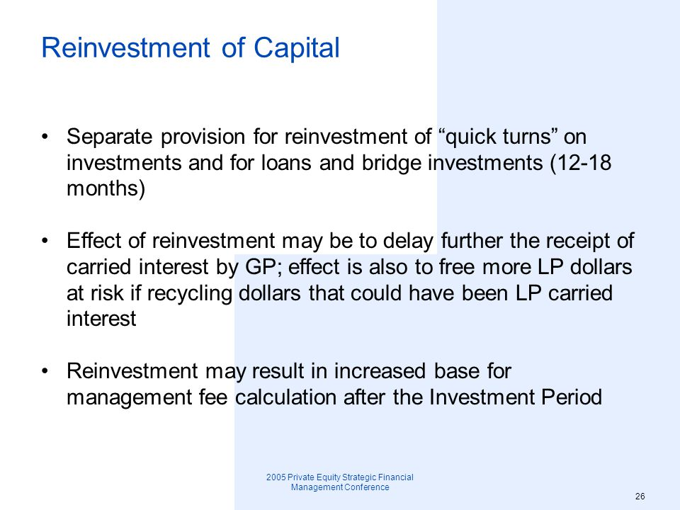 Reinvestment of Capital