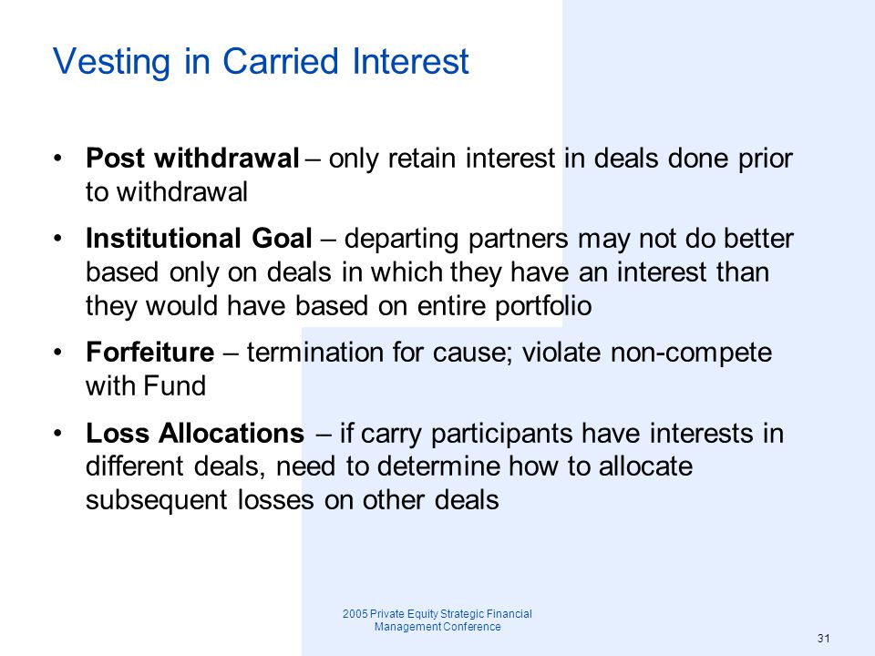 Vesting in Carried Interest