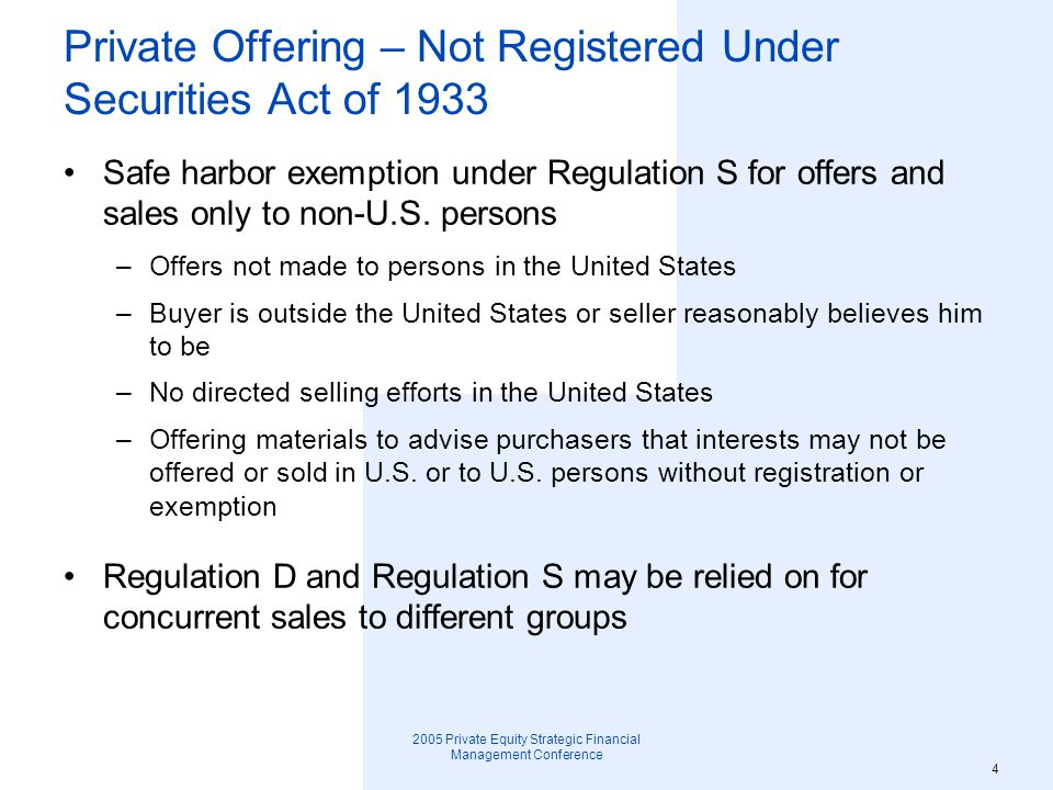 Private Offering – Not Registered Under Securities Act of 1933