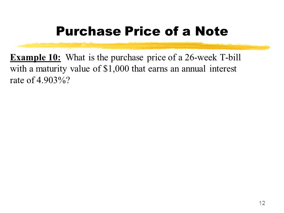 Purchase Price of a Note